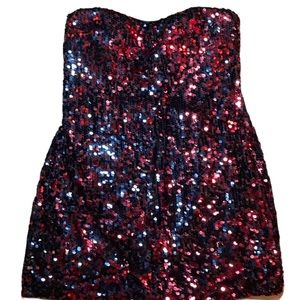 Red Sequinned Strapless Mini Dress 14P